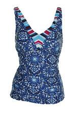 24Th Bleu Océan Multi Colorblocked Cou Viva La Frida Imprimé Tankini HAUT S