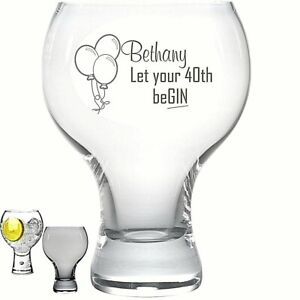 Personalised Engraved 540ml thick stem GIN glass beGIN 40th 50th 18th 21st any