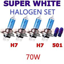 H7 x4 70W 12V HALOGEN SUPER WHITE XENON HEADLIGHT FOG BULBS LIGHT+501 W5W