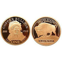 1 oz 999 Kupfer Copper Medaille Münze Indianer Buffalo Büffel New USA Selten