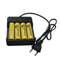 4X 18650 3.7V 9800mAh Li-ion Rechargeable Battery & 4.2V EU Plug 4 Slots Charger