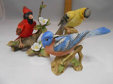 Vintage Collection of 3 Lefton Bird Figurines Blue Bird, Cardinal, Finch