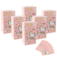 48x Unicorn Birthday Party Favor Bags Paper Sparkle Sweet Treat Candy Gift Bag