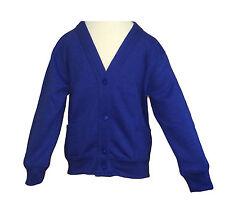 Boys Girls Kids Children School Uniform Plain Line Button Cardigan Jumper V Neck