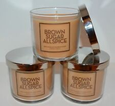 LOT OF 3 BATH & BODY WORKS BROWN SUGAR ALLSPICE SCENTED CANDLE 4 OZ 1 WICK SMALL