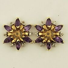 Earring Jackets With Amethysts And Diamonds  14 Karat Yellow Gold