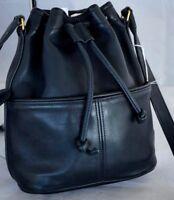 Coach Purse Black Leather Buckle Handbag  Glove Leather Vintage Classic Made USA