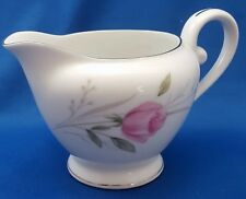 "Diamond China Sterling Rose Creamer White Pink Rose Platinum Rim 3.5"" 8 oz"