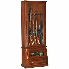American Furniture Classics 898 Wood 12 Gun Cabinet Slanted Base Lock New Glass