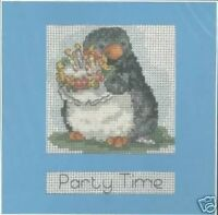 "Cross Stitch Card Kit Party Time Penguin 6 x 6"" 14 Count DMC"