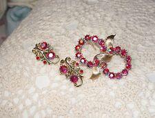 Vintage Red AB Rhinestone Pin & Earring Set Signed Coro