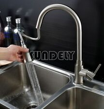 Brushed Steel Pull Down/Out Swivel Kitchen Faucet Basin Sink Spray Mixer Tap