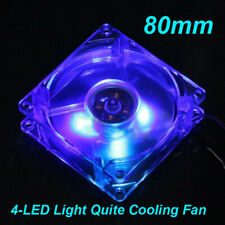 Blue Quad 4-LED Light Quite Clear 12V 4Pin 80mm PC Computer Case Cooling Fan New