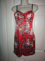 BNWT UK 8 Lipsy Dress Laced Bust Fitted Cup Red Oriental Floral Sleeveless Party