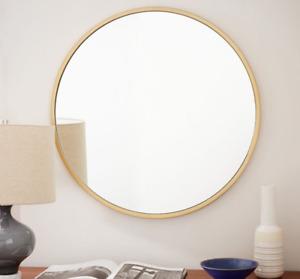 Runder Wandspiegel, Bad Spiegel, Schminkspiegel, Gold 80X80cm DHL