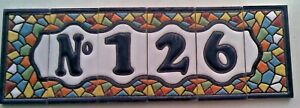 Spanish House Number Letter Dog & Frame Hand Painted DIAMOND Tiles 3'' x 1.5''