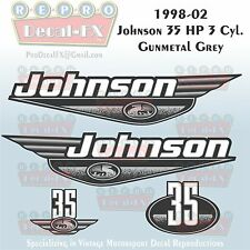 1998-02 Johnson 35 HP 3Cyl Gunmetal Grey Outboard Reproduction 4Pc Vinyl Decal