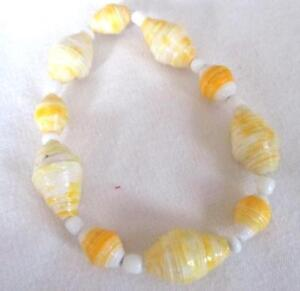 Recycled Paper Bead  Yellow Gold White Mix  Stretch Single Strand Bracelet