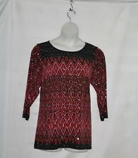 Bob Mackie Long sleeve Placement Print Knit Top Size 1X Red