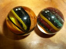 2 RAY LAUB  HANDMADE CAT EYED  MARBLES;LITTLE ONE WITH GREEN ADVENTURINE