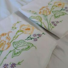PAIR Vintage Hand Embroiderd Calla Lily Floral White Cotton Pillowcases Standard