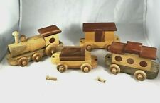 Hand Crafted Wooden Train Childs Toy Handmade Genuine Wood 4 pieces