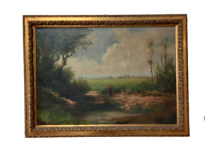 Grande quadro paesaggio campagna - dipinto olio su tela  - primi 900 -bellissimo