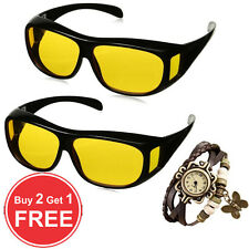 Offer Buy 2 Get 1 Free HD Vision Night Driving Wrap UV400 Protection Sun Glasses