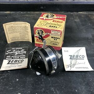 """Vintage 1957 Zebco 33 Feathertouch Spinning Reel in Box + Papers """"Spinner"""" Model"""