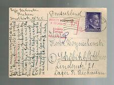 1944 Krakow Poland Postcard Cover to Arbeitslager R REckman Cottbus Germany
