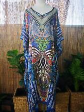 Plus Size Long Sheer Thin Embellished Kaftan Digital Printed Size 16-18-20-22