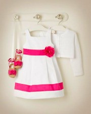 Nwt Janie & Jack Girls White Pink Flower Party Dress Cotton Easter 2T
