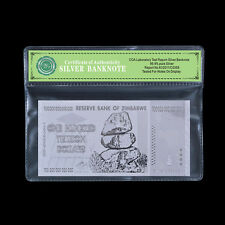 WR Silver Zimbabwe Banknote 100 Trillion Dollars Plastic Money Gift In Sleeve