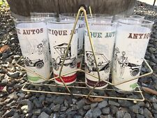 8 Antique Autos Themed Tumblers In Carrier 16 Oz Glasses 1900-1913 Olds Buick