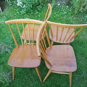 ERCOL BLONDE FAN-BACK DINING KITCHEN CHAIRS
