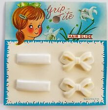 "Vintage Hair Barrettes - 1970's 2 Pairs of Mini White ""Grip-Tite"" Barrettes"