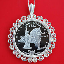 2001 New York State Quarter 90% Silver Proof Coin 925 Sterling Silver Necklace