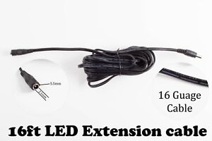LEDupdates 16ft Power supply AC adapter Extension Cable 5.5mm x 2.1mm DC Plug