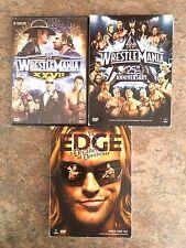 3 WWE Wrestling DVD sets EDGE Decade of Decadence Wrestlemania 25th Ann., XXVII