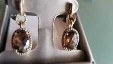 14kt YELLOW GOLD EARRINGS 7.78CT TW DIAMONDS AND TOPAZ NEW