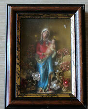 Klosterarbeit 'Maria mit Kind' und Blumendekor, in verglastem Holzrahmen
