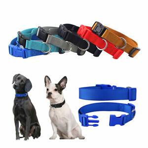 Dog Puppy Pet Collar Adjustable Nylon Toy Small Medium Large pink blue red black
