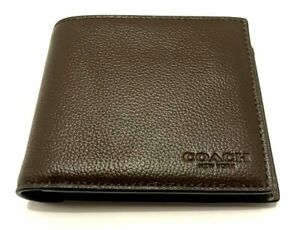 COACH MENS Wallet Bifold  F74991 COMPACT ID SPORT CALF LEATHER MAHOGANY/Brown