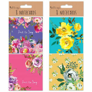 8 Pack Small Floral Note Cards - Blank Messages Enevlopes Cute Designs Gift