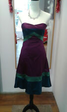 Unusual Coast strapless satin cocktail dress, size 8, purple, green and blue