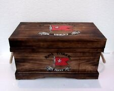 Hand Made Vintage Titanic Steamer Trunk Coffee Table Rope Handle Medium Trunk