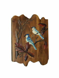 Hand Carved Wooden Blue Jay Plaque Wall Hanging Art Rustic Cabin Home Decor