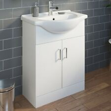 650mm Bathroom Vanity Unit & Basin Sink White Gloss Floorstanding Tap + Waste