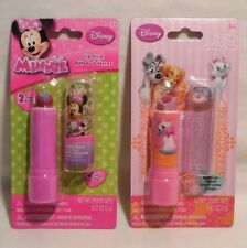 Minnie Mouse & Lady and The Tramp Disney 2 Lipstick LOT Girl