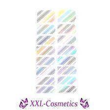 16 x Nagelfolie Nail Art Stripes Folie Silber Hologram Streifen  #NF-22
